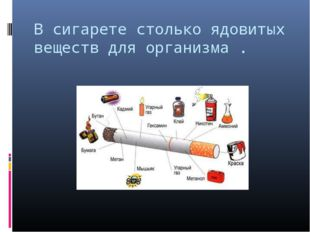 В сигарете столько ядовитых веществ для организма .