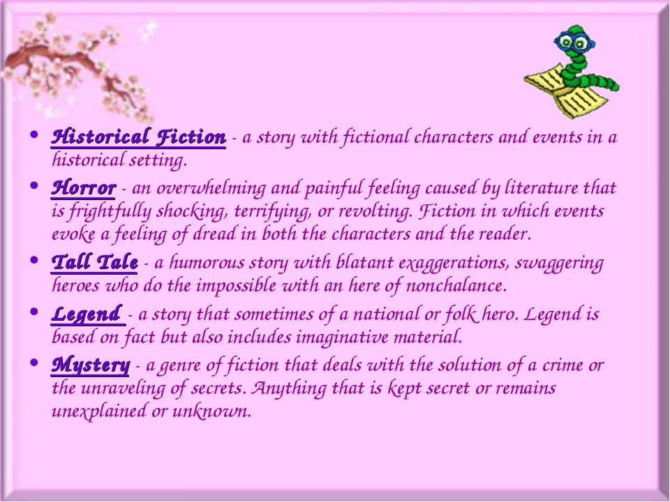 Historical Fiction- a story with fictional characters and events in a histor...