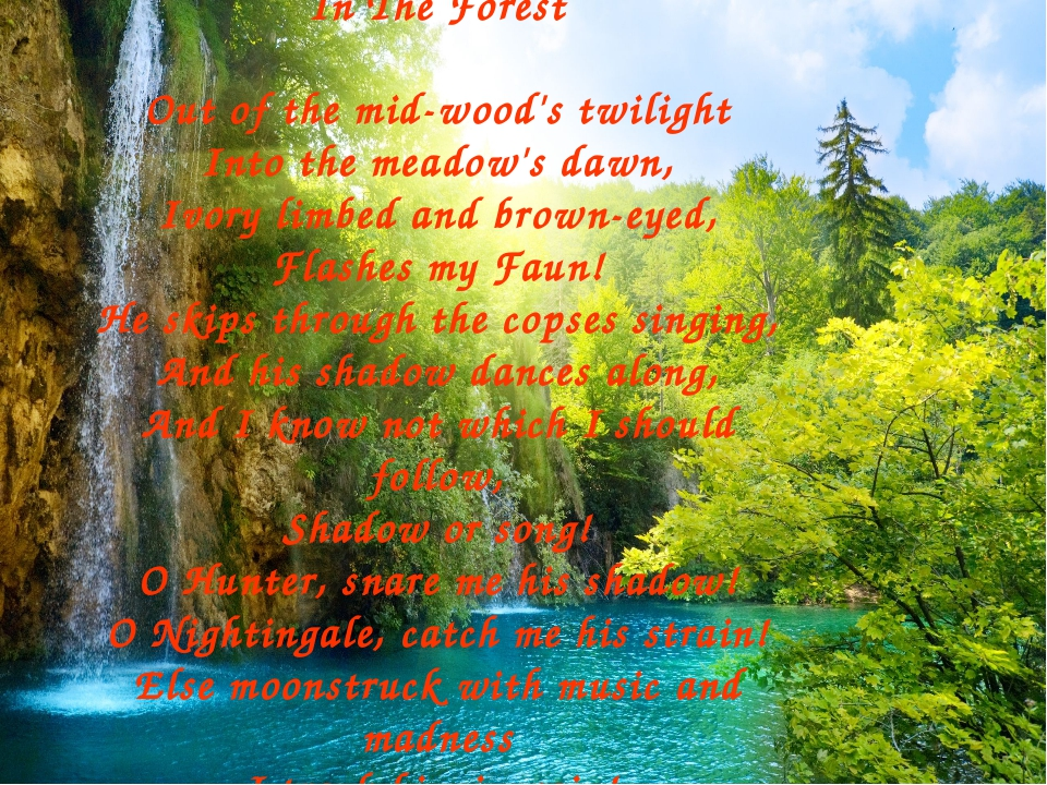 In The Forest Out of the mid-wood's twilight Into the meadow's dawn, Ivory li...