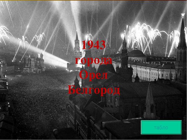 1943 города Орел Белгород табло