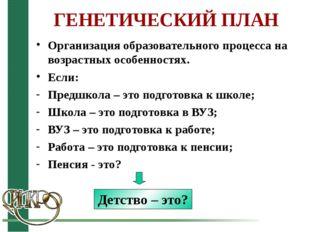 ГЕНЕТИЧЕСКИЙ ПЛАН Организация образовательного процесса на возрастных особенн