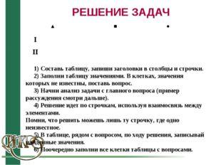 РЕШЕНИЕ ЗАДАЧ 1) Cоставь таблицу, запиши заголовки в столбцы и строчки. 2) За