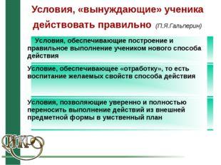 Условия, «вынуждающие» ученика действовать правильно (П.Я.Гальперин) Условия,