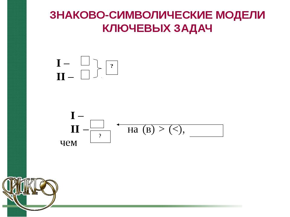 ЗНАКОВО-СИМВОЛИЧЕСКИЕ МОДЕЛИ КЛЮЧЕВЫХ ЗАДАЧ ? I – II –  I – II – на (в) > (