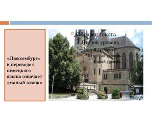 «Люксембург»в переводе с немецкого языка означает «малый замок»