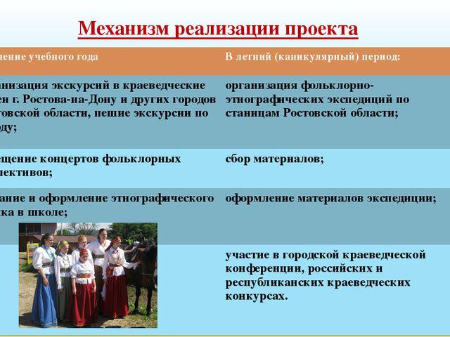 Механизм реализации проекта В течение учебного года В летний (каникулярный) п...