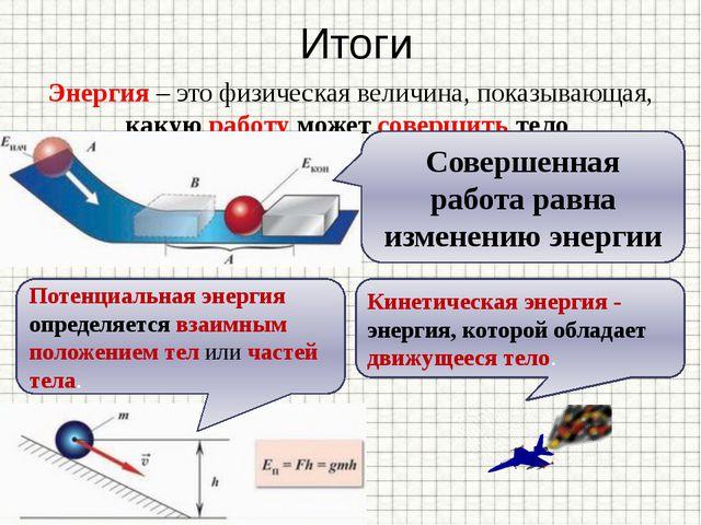 Итоги Энергия – это физическая величина, показывающая, какую работу может сов...