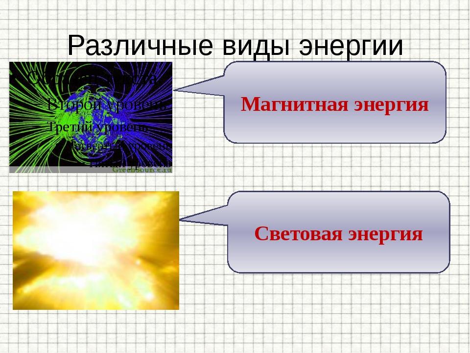 Различные виды энергии Магнитная энергия Световая энергия