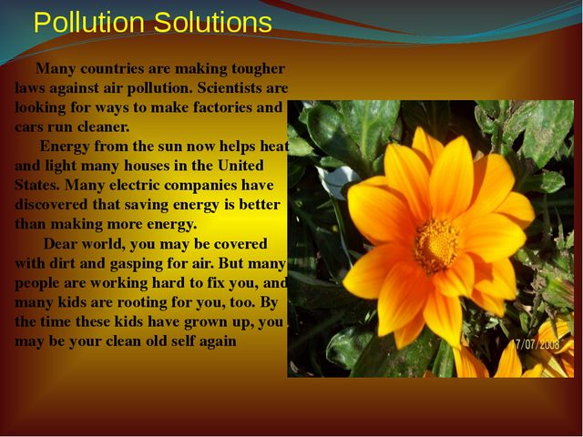 Pollution Solutions Many countries are making tougher laws against air pollut...