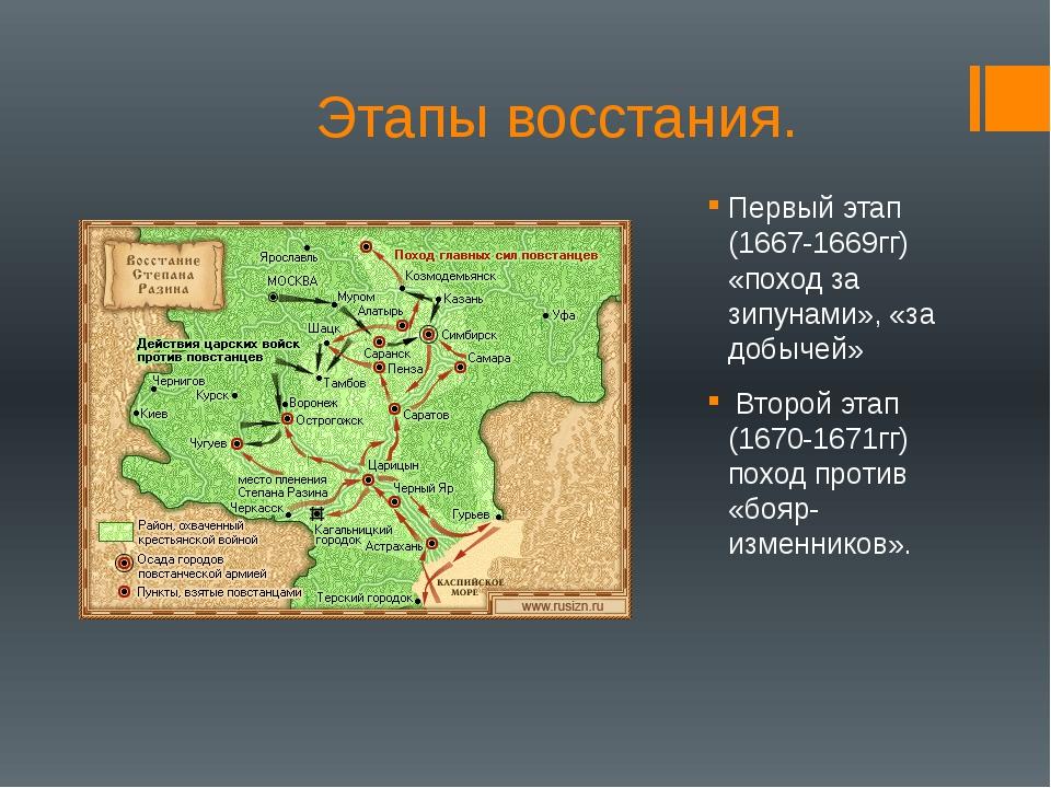 Этапы восстания. Первый этап (1667-1669гг) «поход за зипунами», «за добычей»...