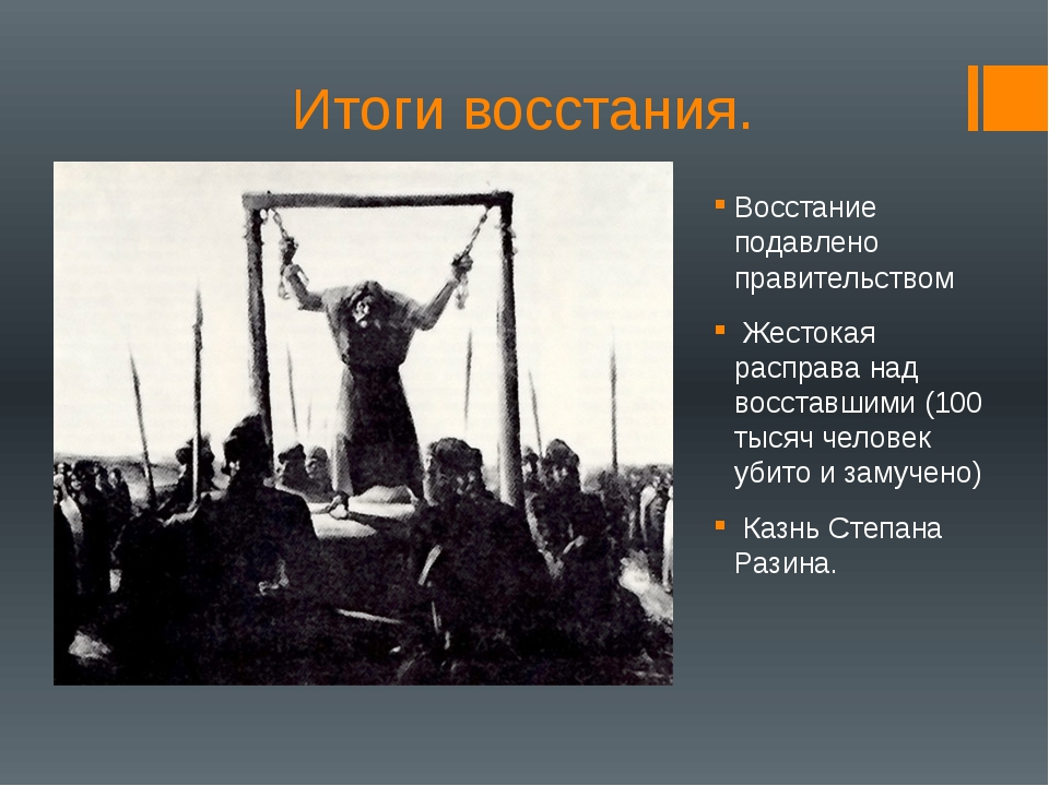 Итоги восстания. Восстание подавлено правительством Жестокая расправа над вос...