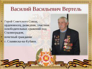 Василий Васильевич Вертель Герой Советского Союза, орденоносец, разведчик, уч