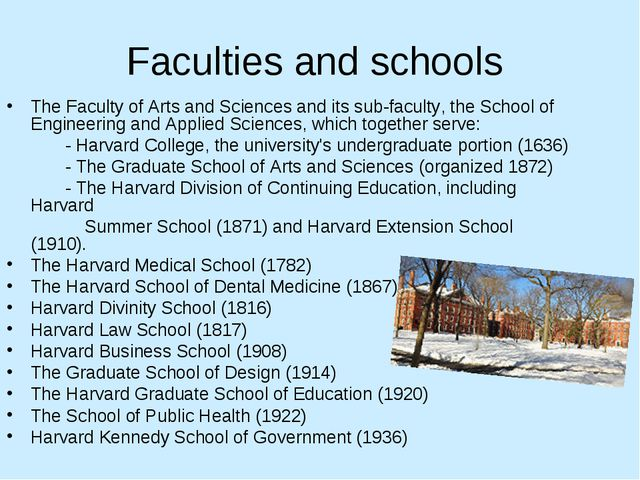Faculties and schools The Faculty of Arts and Sciences and its sub-faculty, t...
