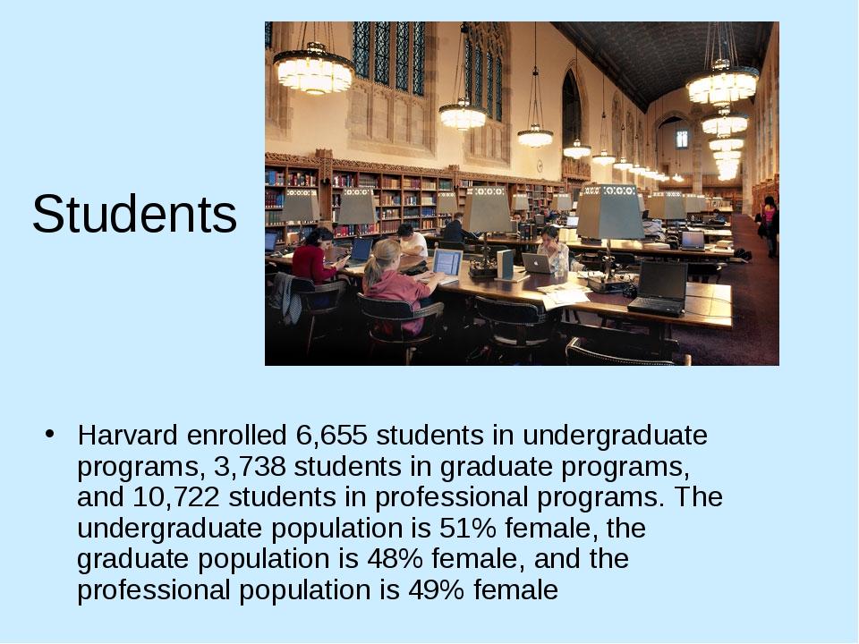 Students Harvard enrolled 6,655 students in undergraduate programs, 3,738 stu...