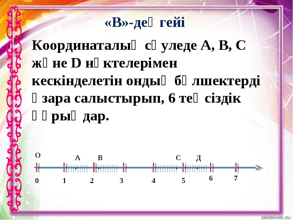 Координаталық сәуледе A, B, C және D нүктелерімен кескінделетін ондық бөлшект...
