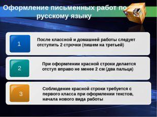 Оформление письменных работ по русскому языку 1 После классной и домашней раб