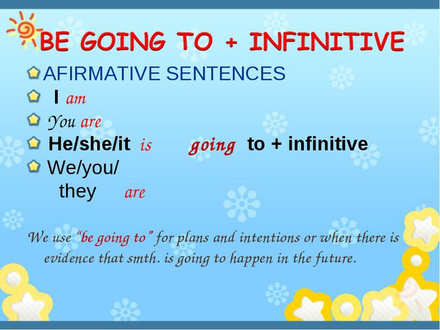 AFIRMATIVE SENTENCES I am You are He/she/it is going to + infinitive We/you/...