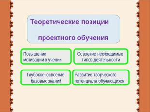 Теоретические позиции проектного обучения Глубокое, освоение базовых знаний П