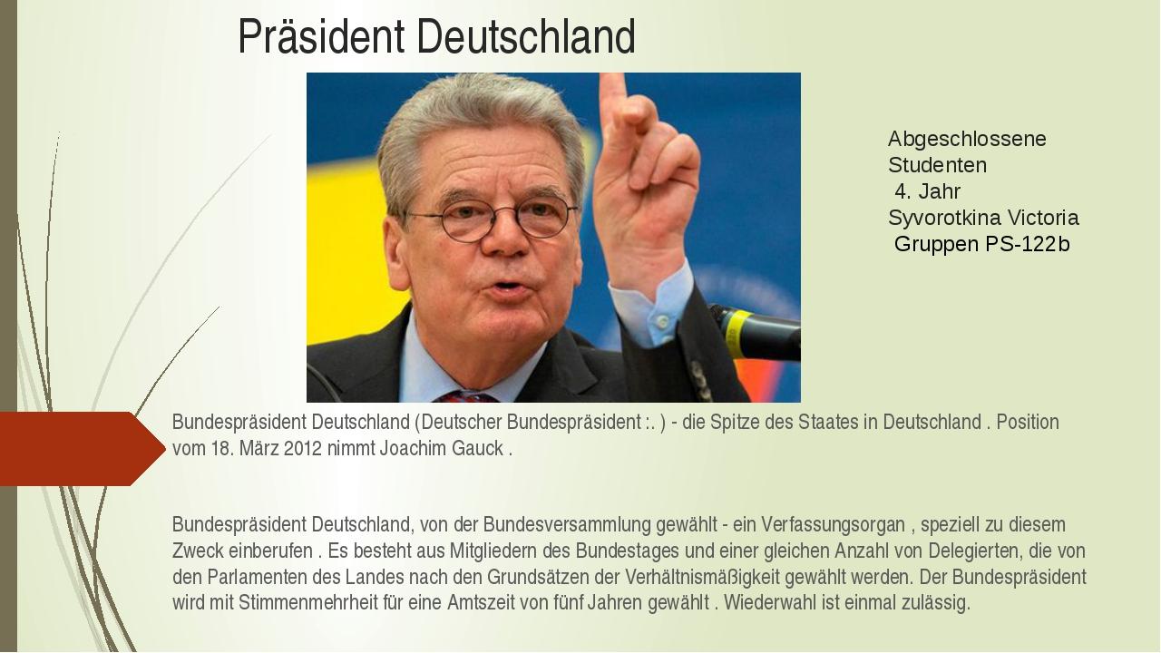 Präsident Deutschland Bundespräsident Deutschland (Deutscher Bundespräsident...