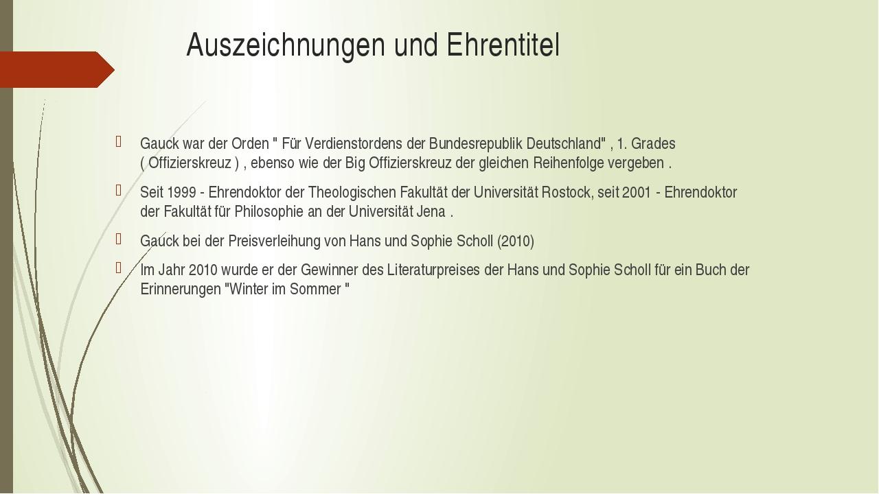 """Auszeichnungen und Ehrentitel Gauck war der Orden """" Für Verdienstordens der B..."""
