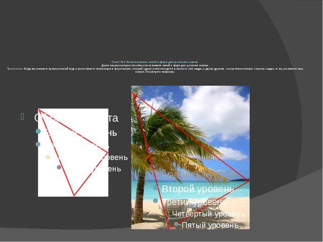 Совет № 8 Использование линий и форм для усиления снимка. Далее мы рассмотрим...