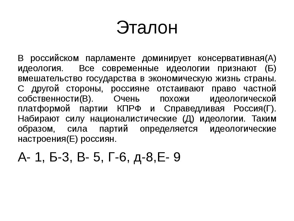 Эталон В российском парламенте доминирует консервативная(А) идеология. Все со...