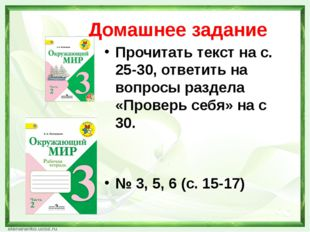 Домашнее задание Прочитать текст на с. 25-30, ответить на вопросы раздела «Пр
