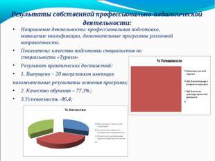 Результаты собственной профессионально-педагогической деятельности: Направлен