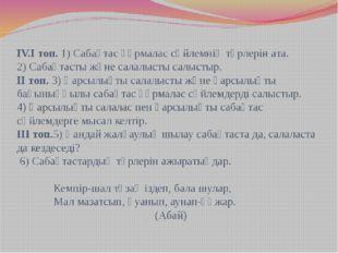 IV.I топ. 1) Сабақтас құрмалас сөйлемнің түрлерін ата. 2) Сабақтасты және сал