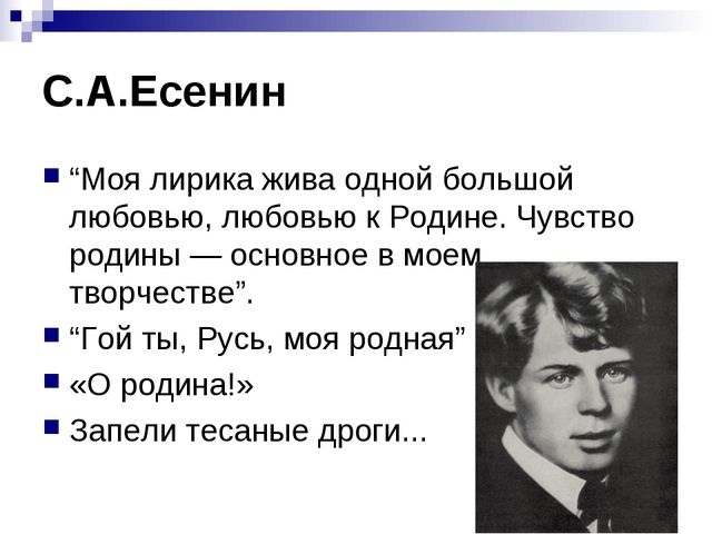 """С.А.Есенин """"Моя лирика жива одной большой любовью, любовью к Родине. Чувство..."""