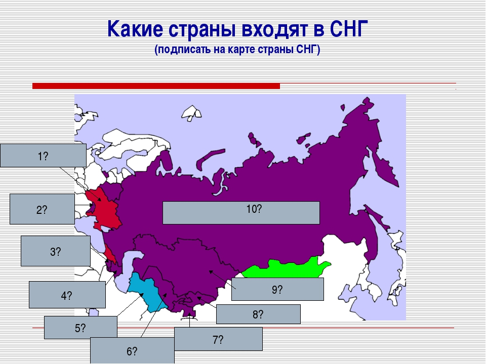 Какие страны входят в СНГ (подписать на карте страны СНГ) 1? 2? 3? 4? 5? 6? 7...