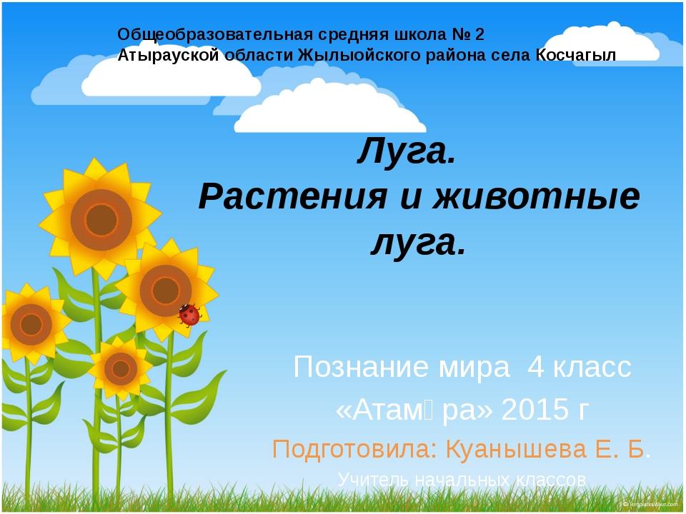 Луга. Растения и животные луга. Познание мира 4 класс «Атамұра» 2015 г Подгот...