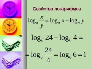 Свойства логарифмов