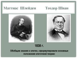 Маттиас Шлейден Теодор Шван 1838 г. Обобщив знания о клетке, сформулировали о
