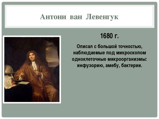 Антони ван Левенгук 1680 г. Описал с большой точностью, наблюдаемые под микро...