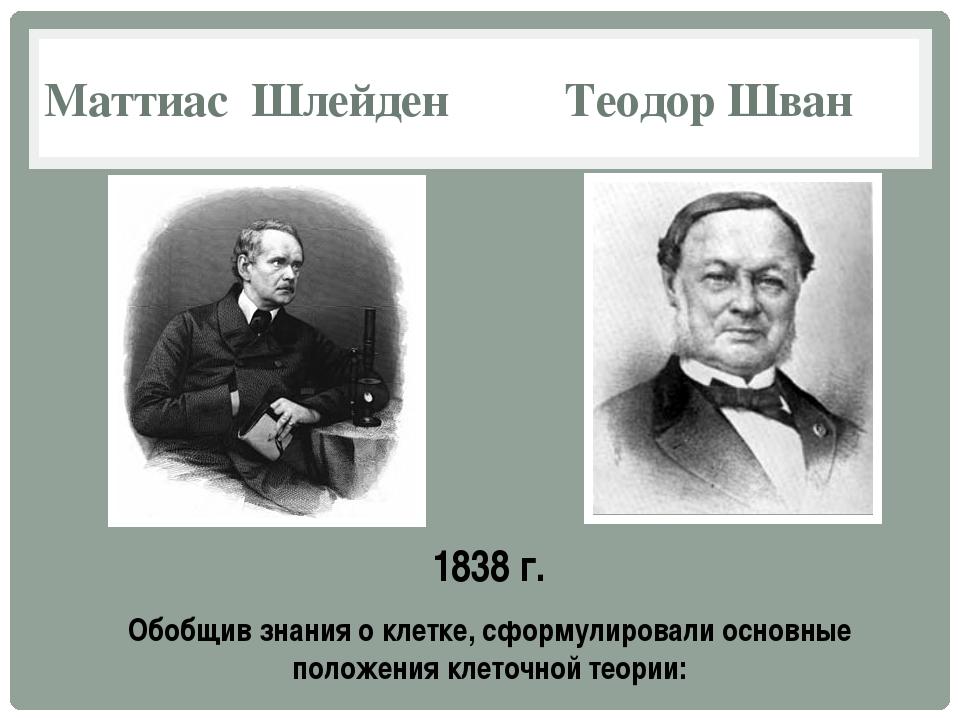 Маттиас Шлейден Теодор Шван 1838 г. Обобщив знания о клетке, сформулировали о...