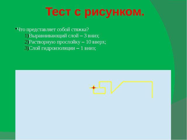 Тест с рисунком. Что представляет собой стяжка? Выравнивающий слой – 3 вниз;...