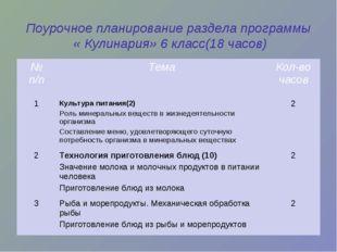 Поурочное планирование раздела программы « Кулинария» 6 класс(18 часов) № п/п