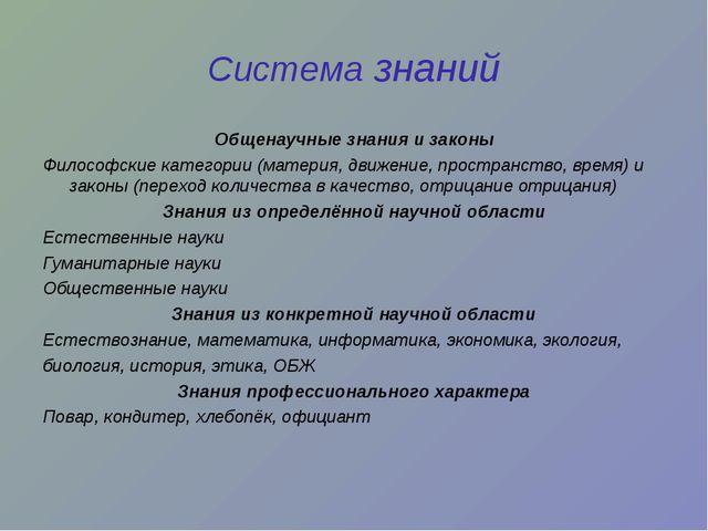 Система знаний Общенаучные знания и законы Философские категории (материя, дв...