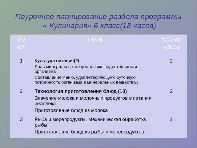 Поурочное планирование раздела программы « Кулинария» 6 класс(18 часов) № п/п...