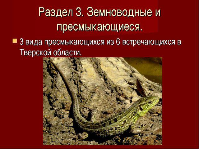 Раздел 3. Земноводные и пресмыкающиеся. 3 вида пресмыкающихся из 6 встречающи...
