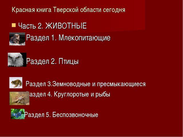 Красная книга Тверской области сегодня Часть 2. ЖИВОТНЫЕ Раздел 1. Млекопитаю...
