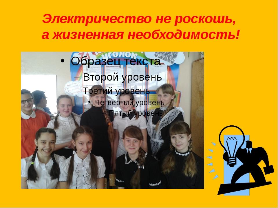 Электричество не роскошь, а жизненная необходимость!