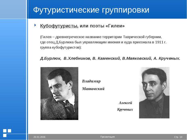 Футуристические группировки Кубофутуристы, или поэты «Гилеи»  (Гилея – древ...