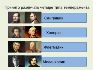 Принято различать четыре типа темперамента: Флегматик Холерик Сангвиник
