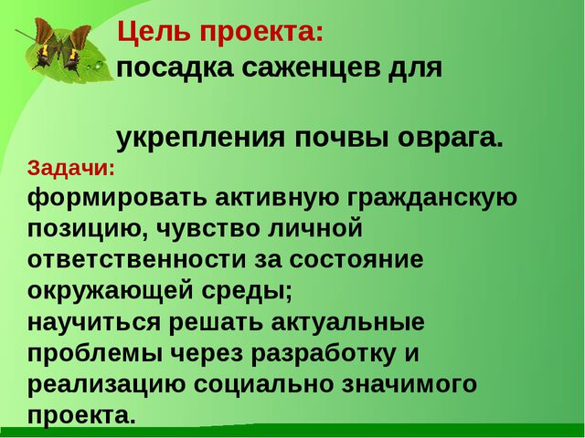 Цель проекта: посадка саженцев для укрепления почвы оврага. Задачи: формиров...