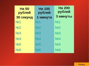 Конец На 50 рублей 30 секундНа 100 рублей 1 минутаНа 200 рублей 3 минуты №1