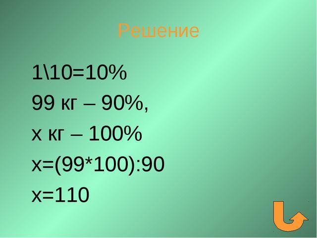 Решение 1\10=10% 99 кг – 90%, х кг – 100% х=(99*100):90 х=110