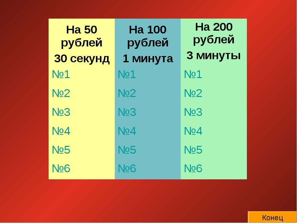 Конец На 50 рублей 30 секундНа 100 рублей 1 минутаНа 200 рублей 3 минуты №1...