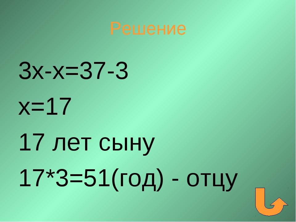 Решение 3х-х=37-3 х=17 17 лет сыну 17*3=51(год) - отцу